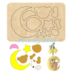 Cute Dear Moon Cutting Wood Dies DIY New Keychain Pendant Leather Bag Suitable For Common Die Cutting Machines on the Market
