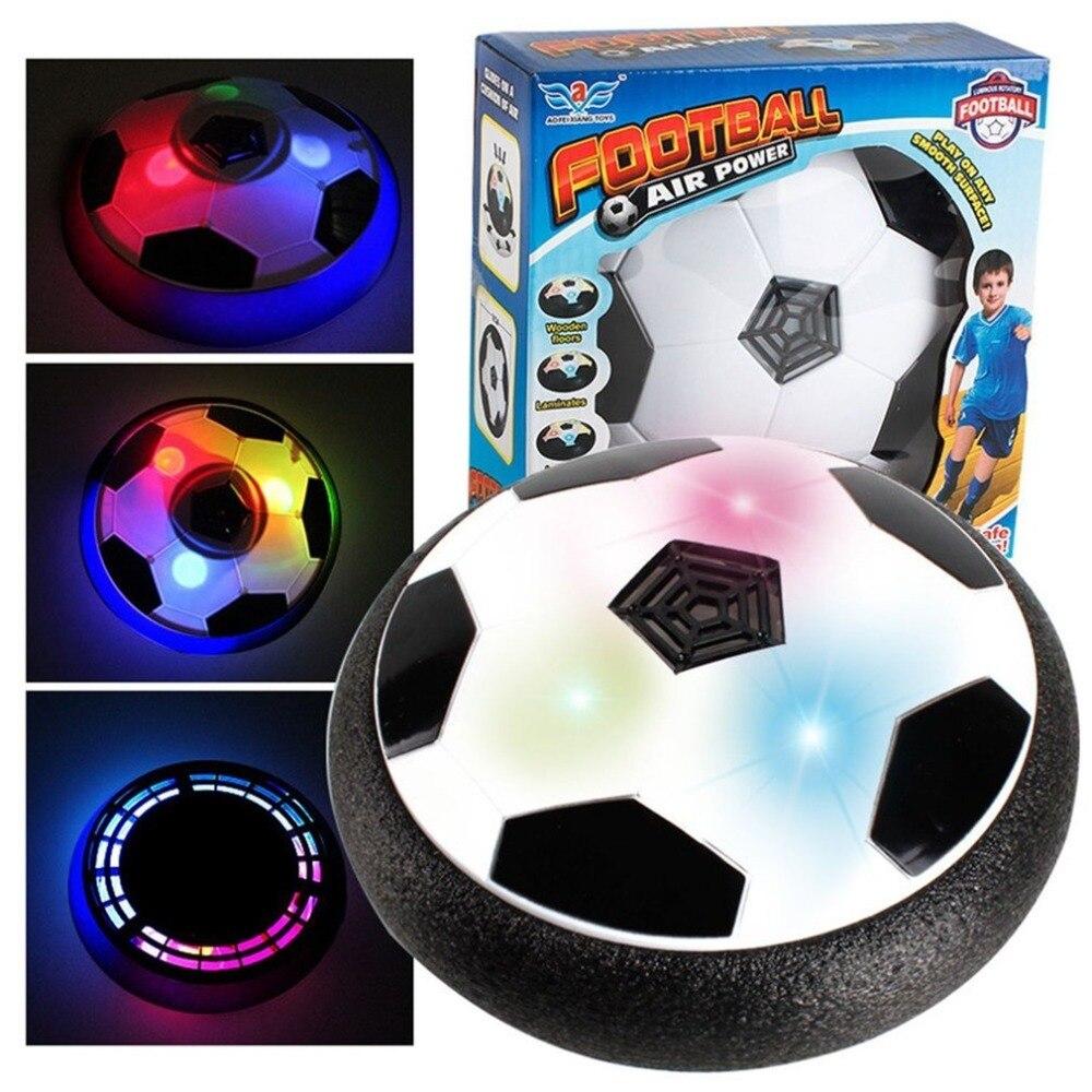 18CM Funny LED Light Flashing Ball Air Power Football Toys Boy Home Game Disc Gliding Soccer Stress Indoor Balls Kid Boy Gift