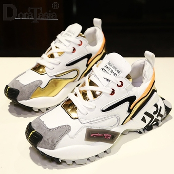 DORATASIA Fashion Attractive Colorful Print Sneakers Daily Casual Walk Sneakers Women Cool lace-up Platform Shoes Woman