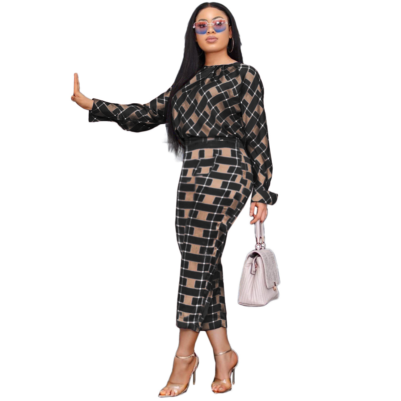 H250c177a5fe04d7bbb56eae4f5657726k - Autumn 2 Piece Outfits for Women O Neck Long Sleeve Plaid Shirt +Pencil Pant set Office Ladies Set Casual