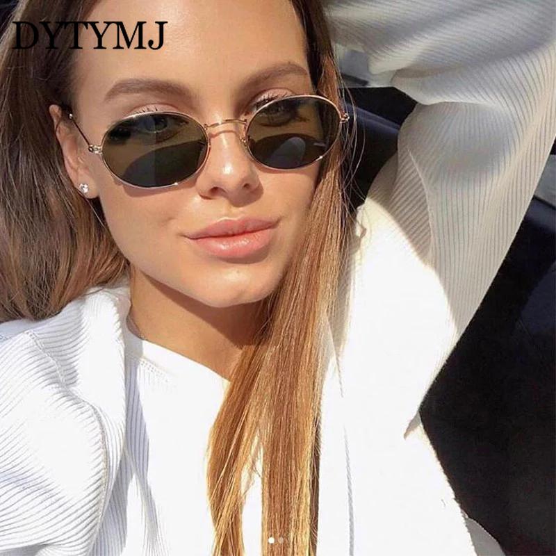 DYTYMJ Retro Alloy Sunglasses Women Metal Round Sunglasses Women Vintage Oval Sun Glasses for Men Luxury Designer Gafas De Sol