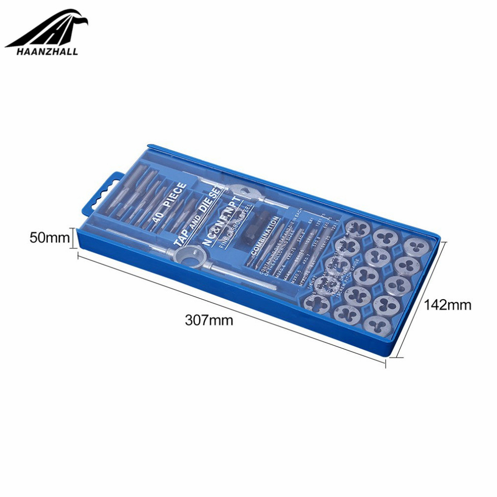20/40pcs Tap Die Set M3-M12 Screw Thread Metric Taps Wrench Dies DIY Kit Wrench Screw Threading Hand Tools Alloy Metal With Bag