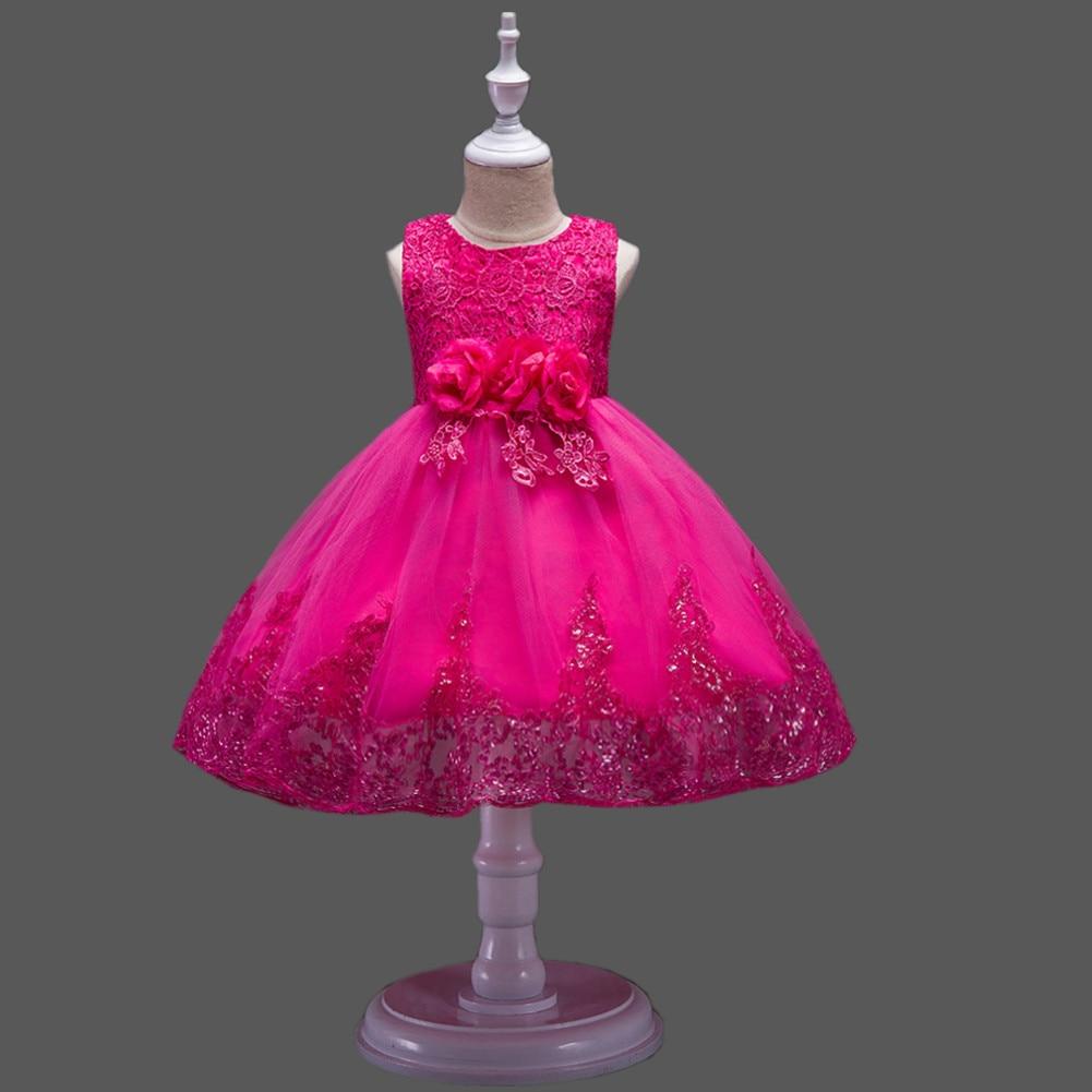 It's Yiya/платье с цветочным узором для девочек кружевные платья для первого причастия для девочек, элегантные рождественские Бальные платья без рукавов с блестками, 575 - Цвет: rose red