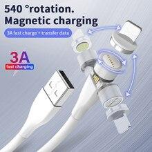 540 girar 3a cabo magnético micro usb tipo c ímã cabo de dados de carregamento rápido para iphone samsung s20 ultra xiaomi redmi nota 8