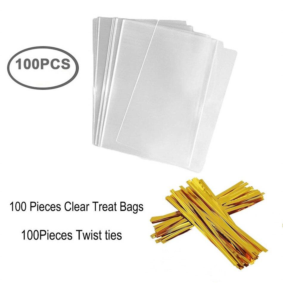 100 Sacos do Deleite 12x18cm com 100 Laços de Torção 10cm OPP Sacos De Plástico para Doces do Lollipop Bolo pop molde do Bolinho de Chocolate Embrulho Buffet