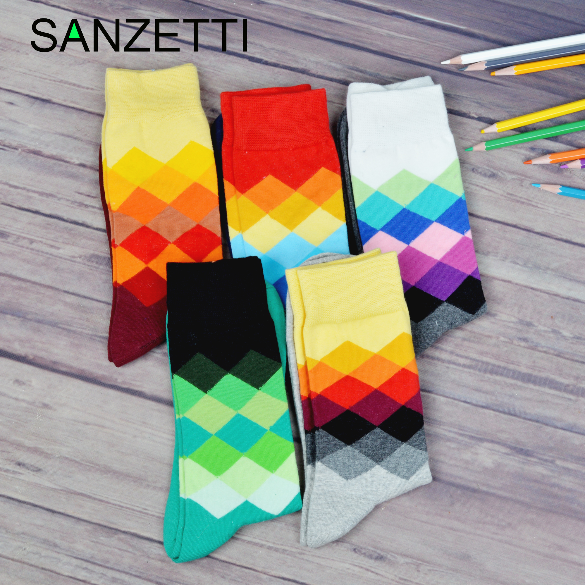 SANZETTI 5 Pairs/Lot Men Casual Colorful Happy Crew Socks Personality Novelty Combed Cotton Socks Dress Breathable Gift Socks