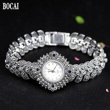 ใหม่ Elegant ธุรกิจ 925 เงินสเตอร์ลิงสตรีฤดูใบไม้ร่วงสร้อยข้อมือนาฬิกา