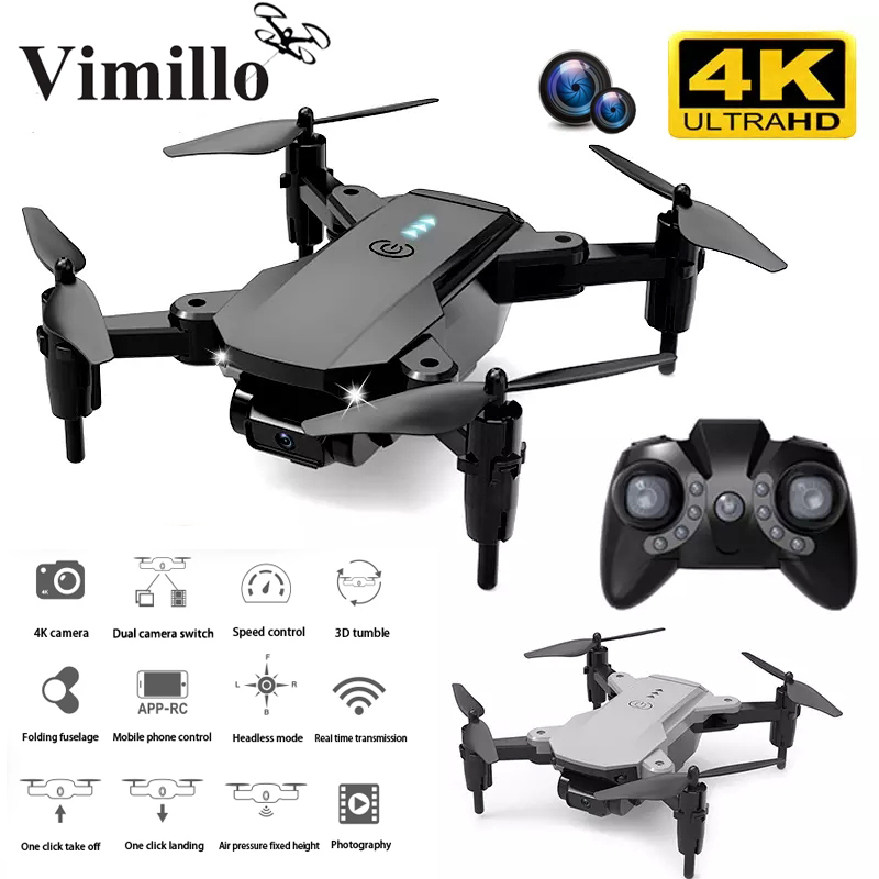 4K 1080P HD Mini Drone with Camera WiFi FPV Drone Foldable Dual Camera Air Pressure Altitude Hold Rc Helicopter As for Gift