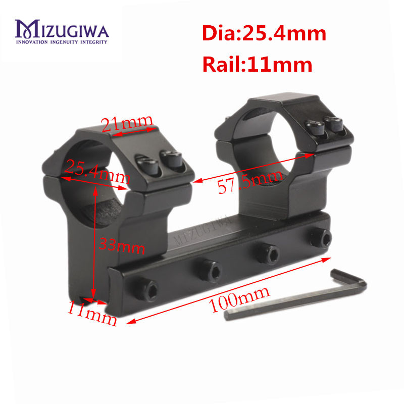"MIZUGIWA 25.4mm 1"" /30mm Ring One Piece Low Profile Dovetail Mount Rings 11mm Rail Waver Long 100mm Riflescope Flashlight