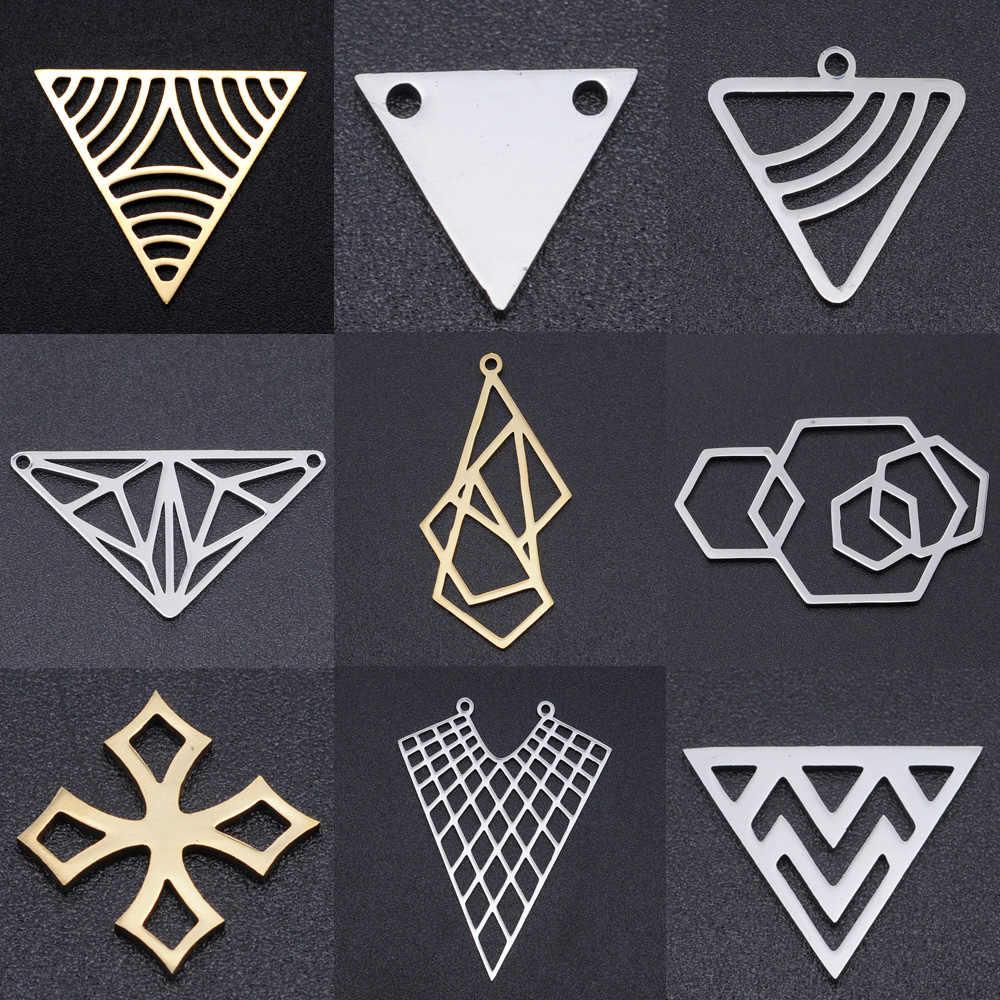 5 Buah/Banyak Geometris DIY Hiasan Grosir 100% Stainless Steel Segitiga Sexangle Konektor Pesona Hexangon Cross Perhiasan Liontin