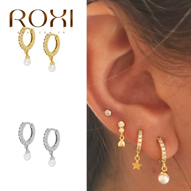 ROXI 925 Sterling Silver Pearl Pendientes Drop Earrings for Women Brincos Hoop Round Zircon Crystal Jewelry Kolczyki Earing