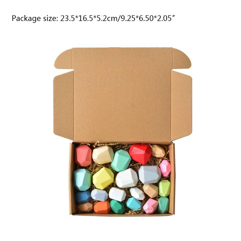 22 pièces enfants en bois coloré pierre empilage jeu bloc de construction éducation jouet Y4UD
