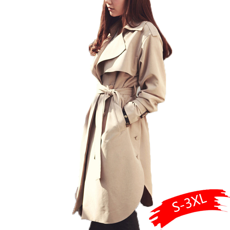 2019 new spring autumn women's khaki   Trench   Coat long Outerwear fashion Casual loose clothes for lady with belt