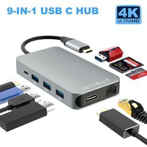 Конвертер Thunderbolt 3 Type C USB C hdmi 4K 30hz USB3.0 концентратор Micro SD/TF кардридер RJ45 1000 Мбит/с зарядным адаптером PD