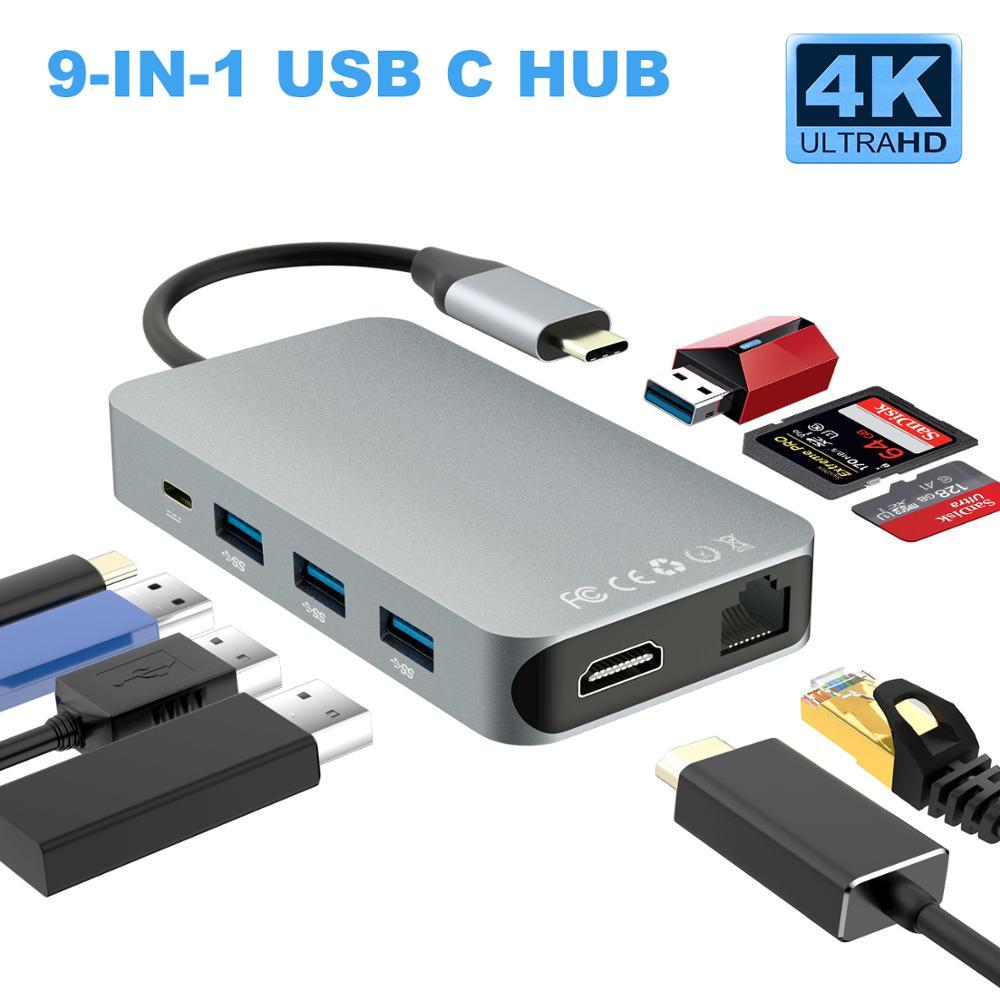 Thunderbolt 3 Type C convertisseur USB C hdmi 4K 30hz USB3.0 hub Micro SD/TF lecteur de carte RJ45 1000mbps avec adaptateur de charge PD