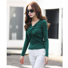 2019 Sexy V Neck Sweater Long Sleeve Jumpers Pullover Twisted Sweaters Casual Women Autumn Winter Knitted
