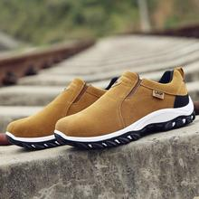 New men leather sneakers casual hiking slip wear climbing outdoor shoes waterproof breathable