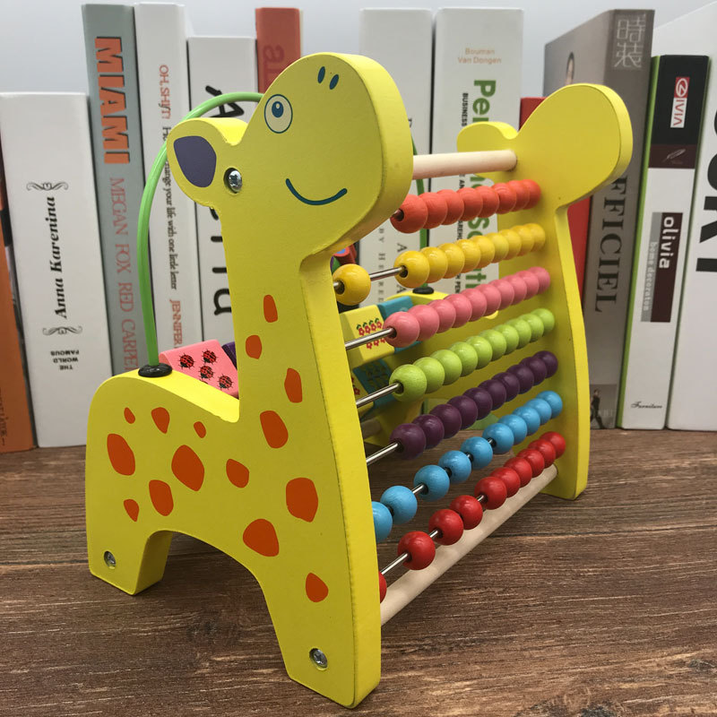 Wooden Toys Multi-functional Deer Bead-stringing Toy Calculation Frame Children'S Educational Beaded Bracelet CHILDREN'S DAY Chi