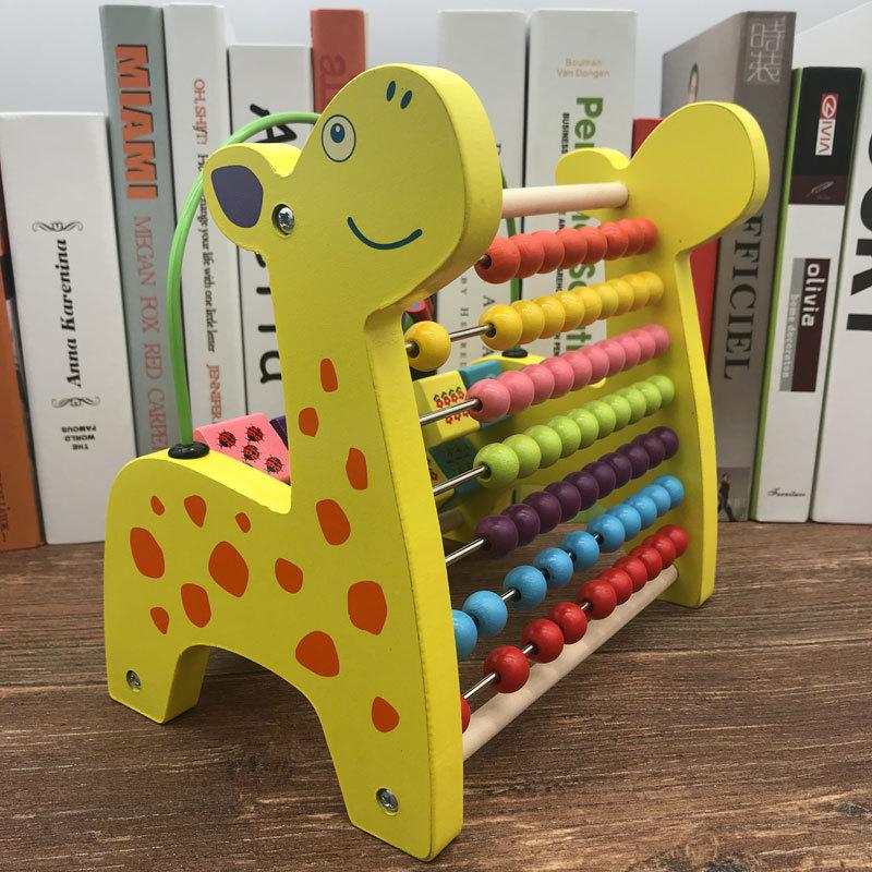 Wooden Toys Multi-functional Deer Bead-stringing Toy Calculation Frame Children'S Educational Beaded Bracelet CHILDREN'S DAY Chi