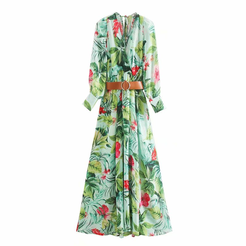New 2020 women vintage v neck red floral green leaves print casual midi dress ladies sashes vestidos chic chiffon dresses DS3635