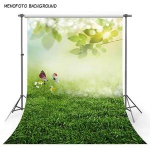 Image 3 - Mehofond الربيع الأخضر العشب الطبيعي مشهد خلفية فراشة زهرة الطفل صورة التصوير خلفية الصورة استوديو الدعائم