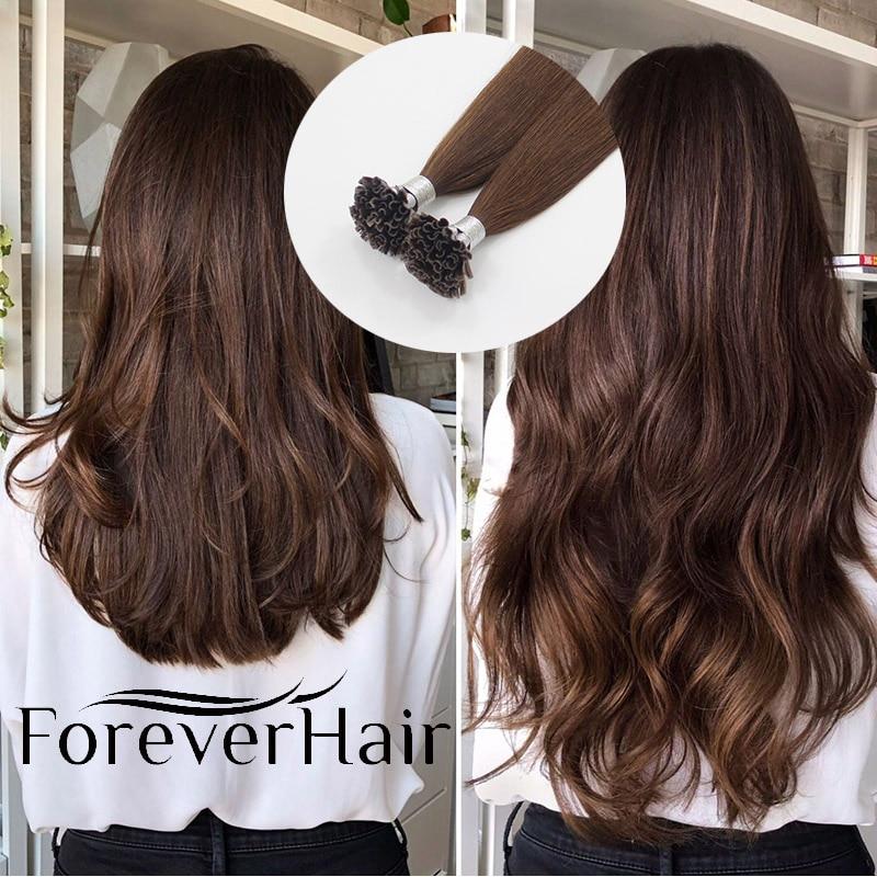 """FOREVER HAIR 0,8 г/прядь 16 """"18"""" 20 """"капсулы u-образные накладные кератиновые бонды 100% Remy человеческие волосы для наращивания шелковистые прямые"""