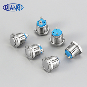 цена на 16mm Metal Push Button Switch IP67 Waterproof Nickel plated brass press button Self-reset 1NO FlatRound Momentary Pin and screw