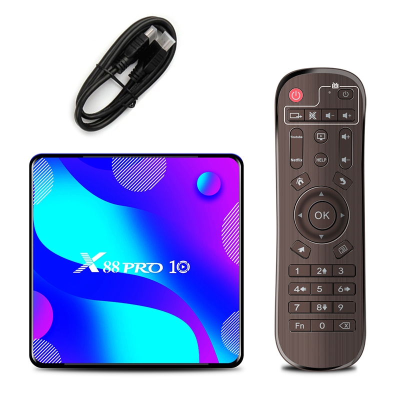 Android TV BOX X88 PRO10 Смарт ТВ приставка Android 10 RK3318, 4 Гб + 32G 4K Media Player X88 Pro 10 Android ТВ Декодер каналов кабельного телевидения штепсельная вилка европейс...