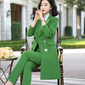 Image 4 - 2019 High quality Elegant women pant suit long blazer and pant 2 pieces sets suit green red black for office lady