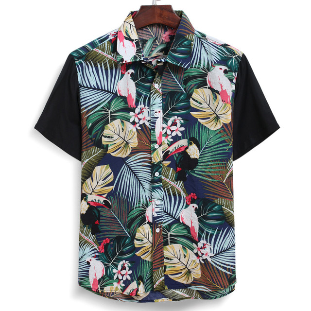 2020 Men's Casual Loose Short Sleeve Tropical Print Patchwork Button Down T-Shirt Top Lose Weight Custom tshirt High Quality F1