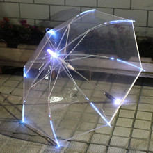LED Light Clear Transparent Umbrella Woman For Environmental Gift Shining Glowing Party Activity props Long Handle