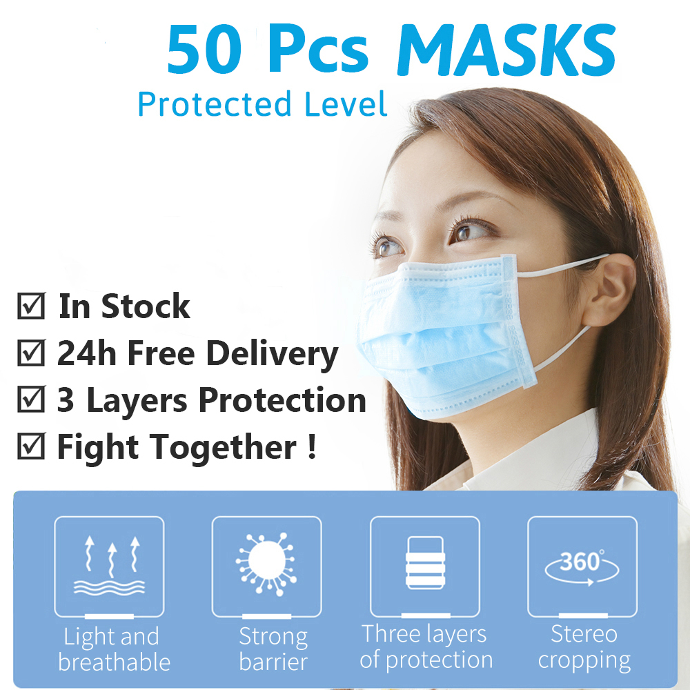 50 Pcs Respirator Mask Face Mouth Facial Protective Cover Mouth Caps PM2.5 Dustproof 3 Layers Mundschutz Maske Ffp3 Kids Fabric