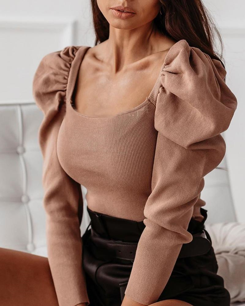 Sexy Women Knitted Puff Long Sleeve Shirt Fashion Casual Slim Fit Blouse Solid Puff Sleeve Bodycon Tops Pullover Bodysuit Romper