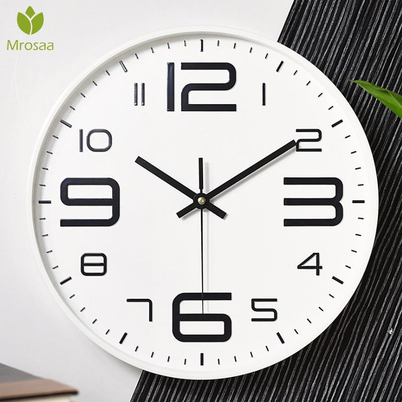 2019 High Quality 12Inch Modern Round Wall Clocks Modern Plasitc Clocks Quartz Horloge Wathces Home Bedroom Kitchen Wall Clocks|Wall Clocks| |  - title=