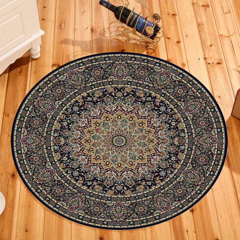 북유럽 민족 라운드 카펫 매트 블랙 만다라 지역 깔개 거실 홈 섬유 보헤미아 레트로 안티-슬립 소파 의자 바닥 매트