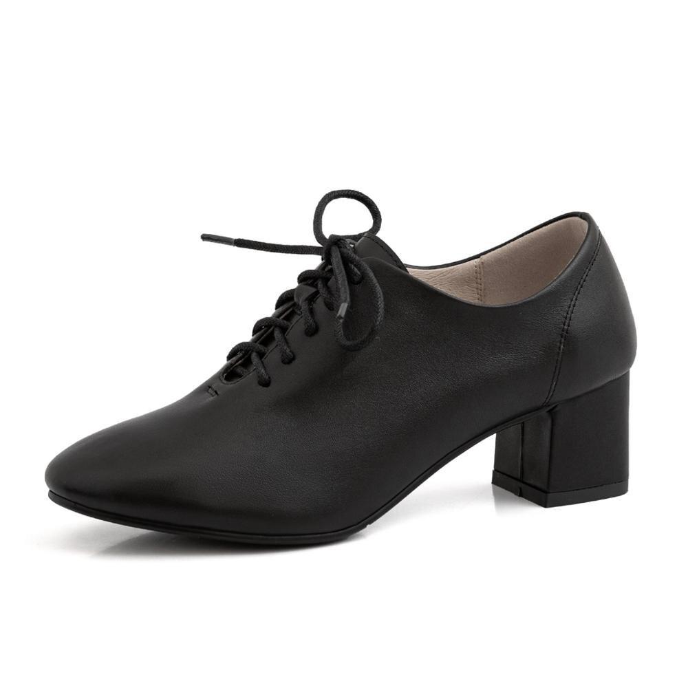 Осень зима; модная женская обувь из натуральной кожи; Тканевая обувь на толстом высоком каблуке 5 см с удобной подкладкой и перекрестными ремешками; женская обувь - 3