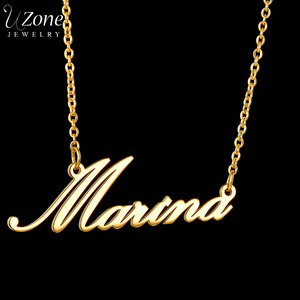 UZone Stainless Steel Personalized Custom Name Necklace Gold Customized Nameplate Choker Necklaces For Women Anniversary Gifts