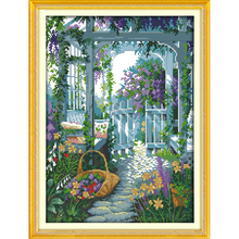Everlasting love The garden gate  Chinese cross stitch kits Ecological cotton stamped 11 CT 14 CT Christmas New store promotion everlasting love the beach path among the flowers chinese cross stitch kits ecological cotton stamped 11 ct new sales promotion