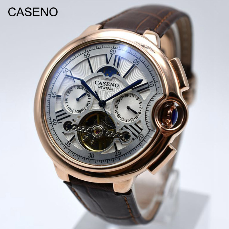 Tourbillon Mens Watch Top Brand Luxury Belt Watch Men Automatic Mechanical Wristwatch Skeleton Sport Male Clocks Relogio CASENO