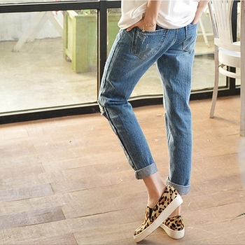 Summer Of Tall Waist Hole Jeans Women Straight Nine Minutes Of Pants Relaxed Joker Students Show Thin Edge Han Edition Nine цена 2017