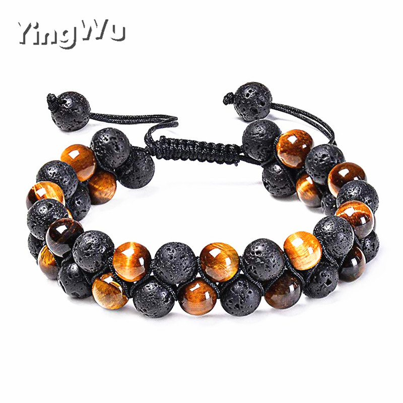 Yingwu Tiger Eye Lava Rock Essential Oil Diffuser Bracelet Natural Healing Stone Beads Bracelet 8mm Adjustable Bracelets for Men