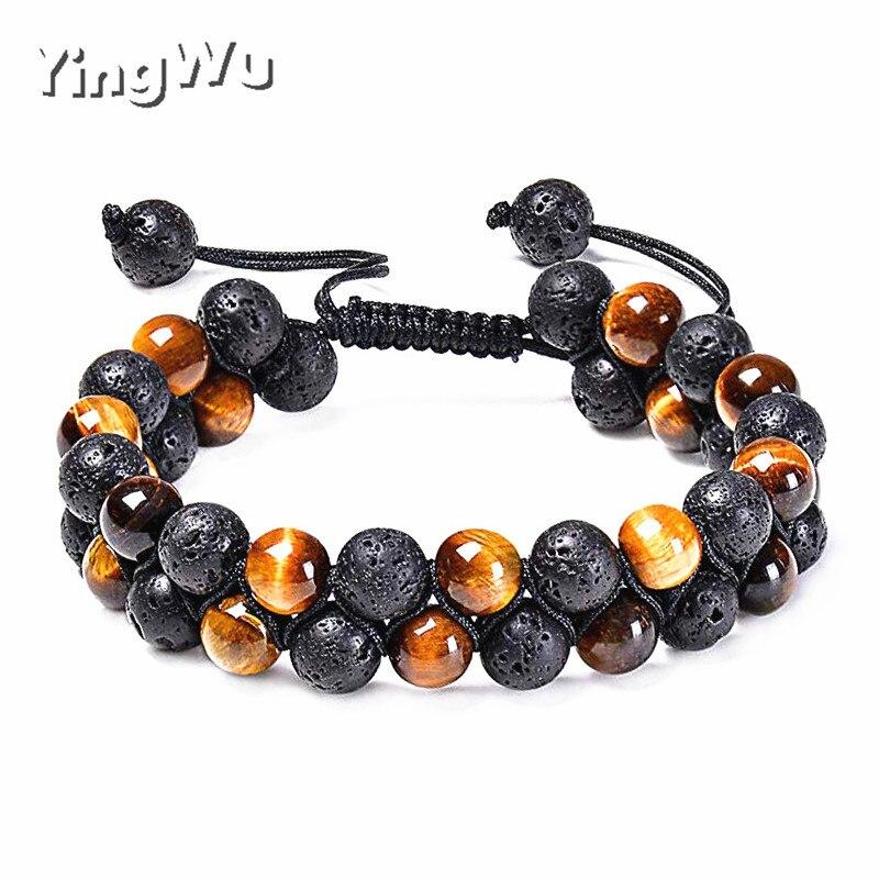 Yingwu Tiger Eye Lava Rock Essential Oil Diffuser Bracelet Natural Healing Stone Beads Bracelet 8mm Adjustable Bracelets for Men