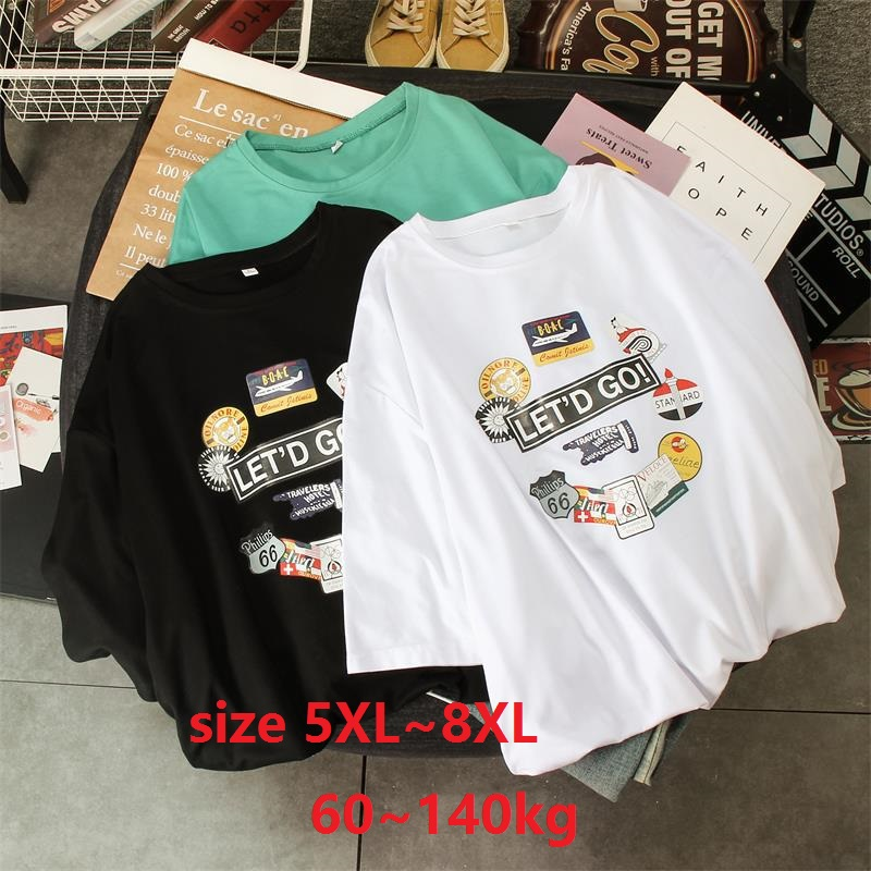 Women  Plus Size 5XL 6XL 7XL 8XL Casual Loose Cotton T Shirt Cartoon Print Top T-Shirt Daily Tee Shirt Femme Tops