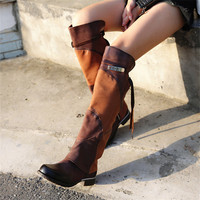 2020 New Fashion Patchwork Women Thigh High Boots Sexy Over the Knee Boots Female Autumn Winter Flat Long Botas Mujer
