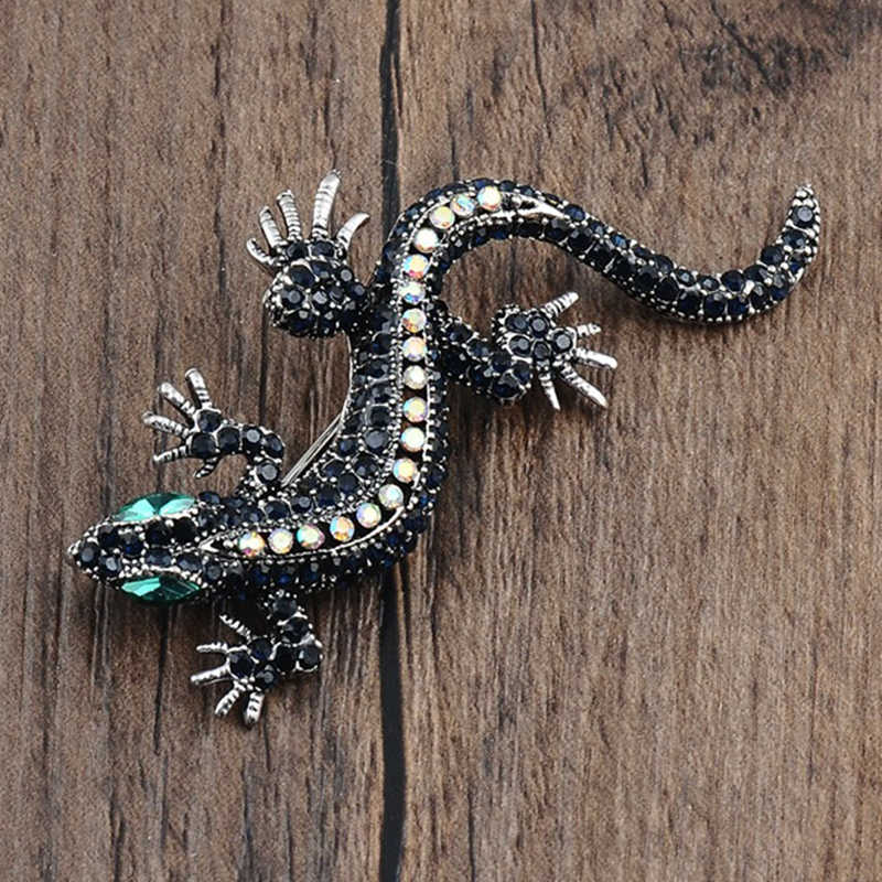 Unique Animal Lizard Crystal Jewelry Brooch Enamel Fashion Rhinestone Pins for Men Suit Sweater