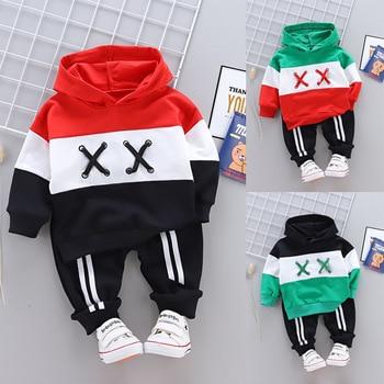цена на Spring Autumn Fashion Children Cotton Clothing Suit Baby Boys Girls Clothes Sport Hoodies Pants 2Pcs Infant Toddler Tracksuits