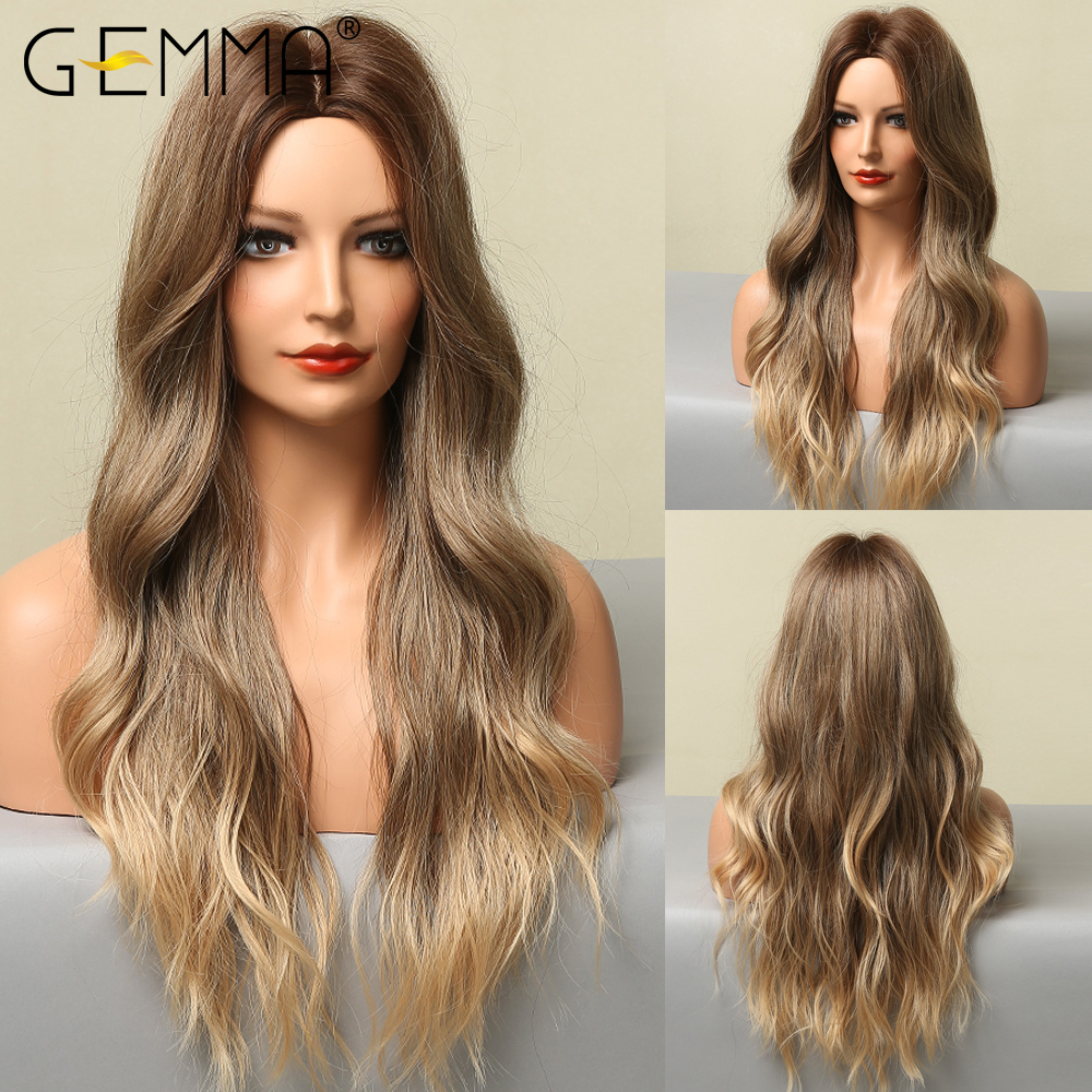GEMMA Long Wavy Ombre Black Brown Golden Blonde Synthetic Wig Natural Middle Part Heat Resistant Hair Wigs for Black Women Afro