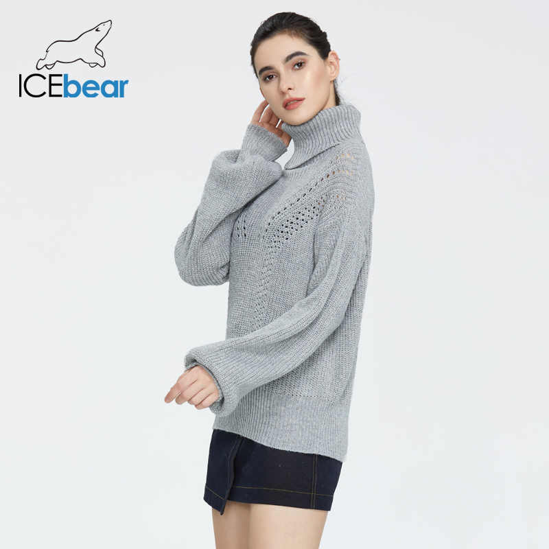 Icebear 2020 봄 새로운 단색 느슨한 캐주얼 하이넥 트위스트 스웨터 여성 양모 니트 톱 AW-128