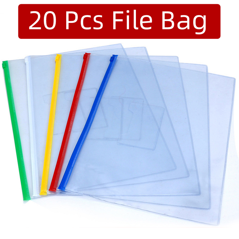 20pcs/set Stationery A4/A5/A6 High Quality PVC Transparent Edge Bags File Bag Office & School Supplies Free Shipping Papelaria
