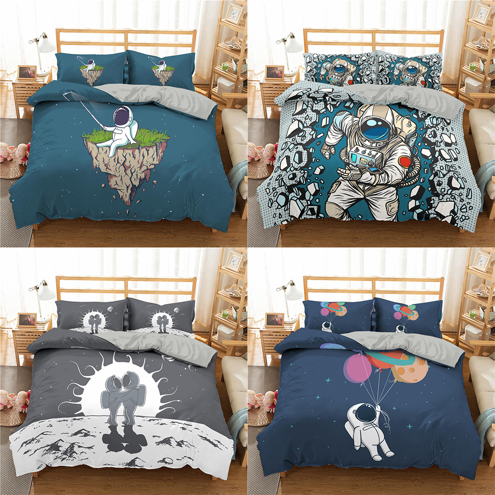 Homesky Astronaut Space Bedding Sets Cartoon Duvet Cover Set Pillowcase Comforter Bedding Set Home Textile King Queen Size